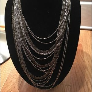 Layered multi metal statement necklace